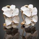 Women Cute Gardenia Flower Crystal Ear Studs Rhinestone Earrings Hoop Buckle FE