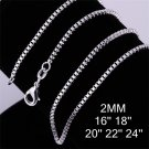 18 inch 2mm Fashion Jewelry Silver Plating Box Chain Link Necklace DIY FE
