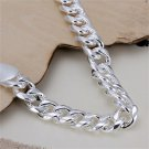 10mm Cool Silver Plating Chain Bracelet Link Lobster Clasp Fashion Jewelry FE