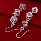 Women Silver Plating Crystal Magic Cube Drop Ear Hook Dangle Earrings Jewelry FE