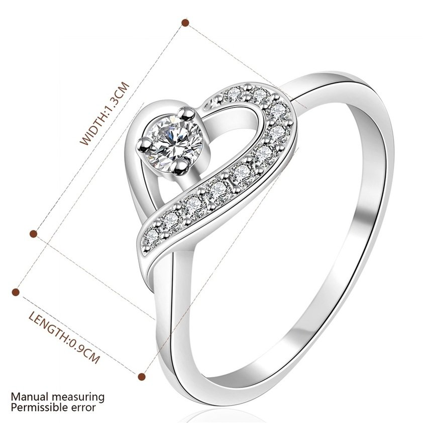 Women Silver Plating Heart Crystals Finger Band Ring Size 7 Wedding Jewelry FE