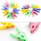 20pcs Convenient Plastic Laundry Clothes Pins Hangers Spring Clamp Clips FE