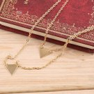Women Double Layers Triangle Charm Pendant Chain Necklace Jewelry Gift FE