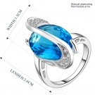 Women Luxury Platinum Plating Ellipse Blue Zircon Crystal Ring Size 8 Jewelry FE