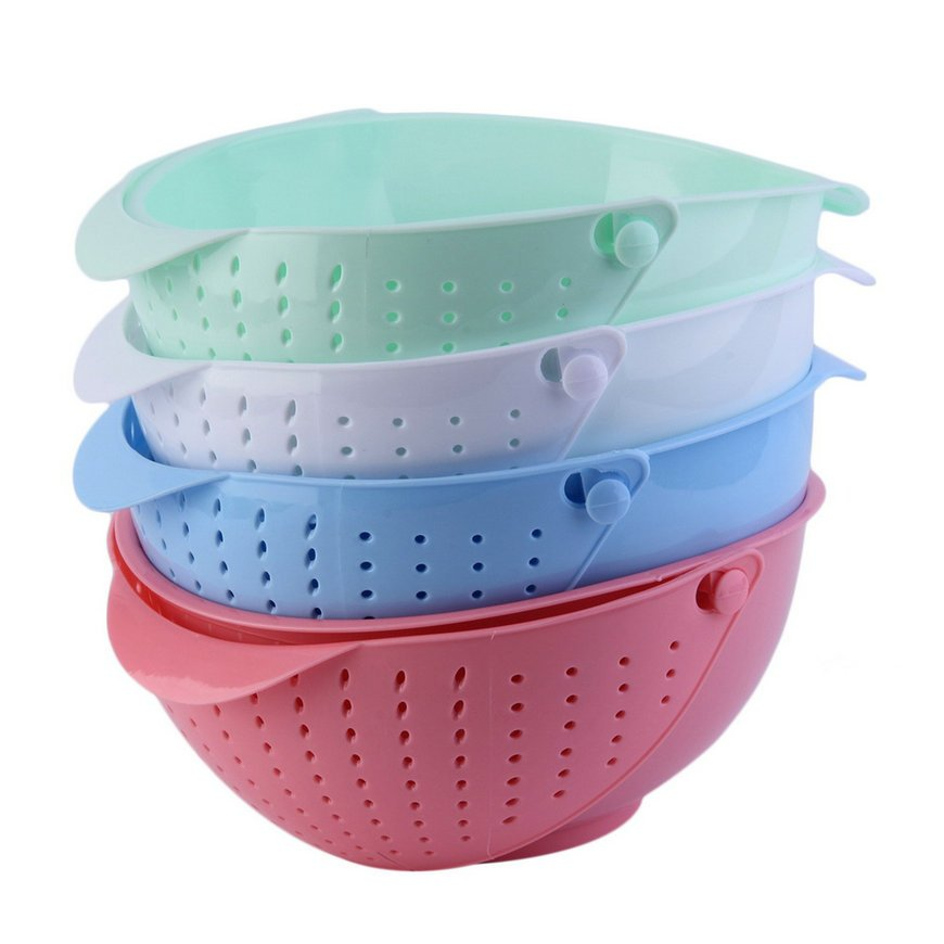 3 in 1 Clamshell Rice Fruit Vegetable Wash Strainer Sieve Kitchen Tool  FE
