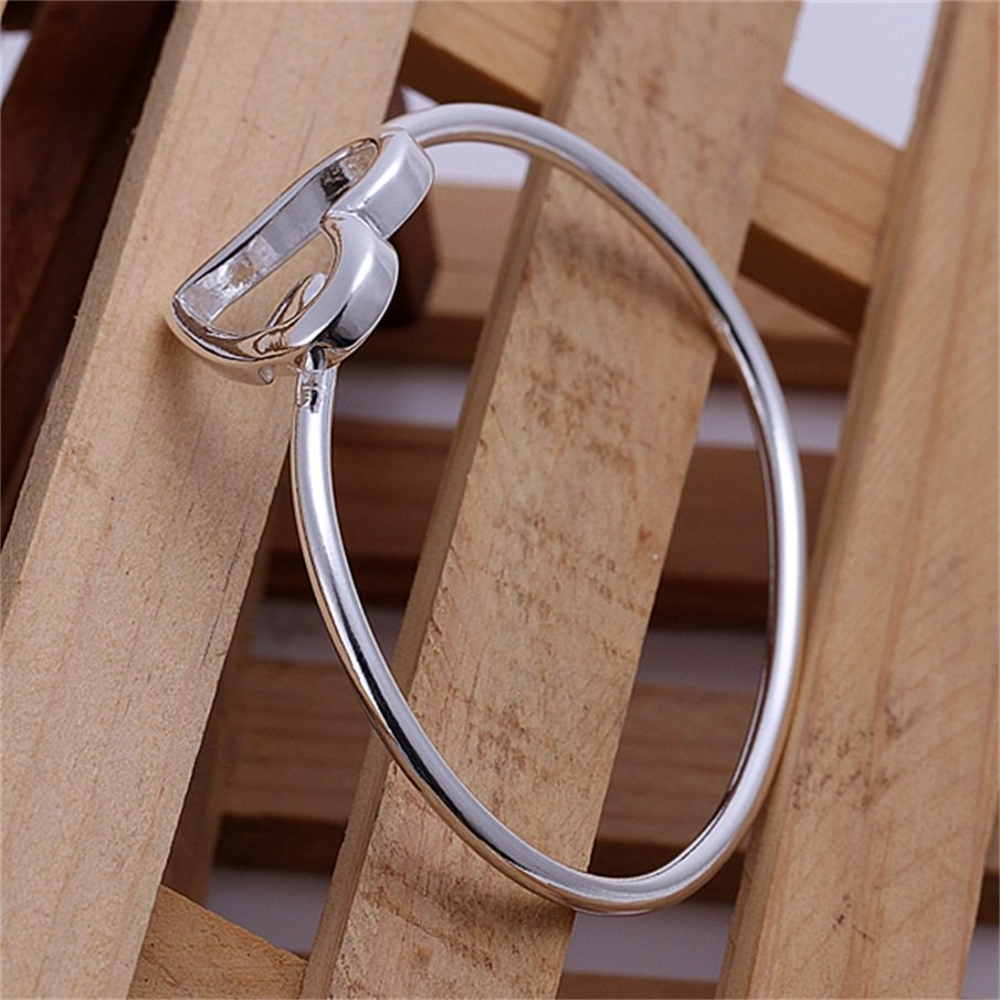 New Simple Women Double Hearts Silver Plating Cuff Bangle Bracelet Gift FE