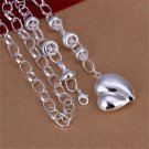 18 INch Simple Women Fashion Charm Silver Cute Heart Pendant Necklace Gift FE