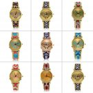Women Peach Dial Ethnic Braided Analog Quartz Chain Bracelet Wrist Watch FE
