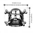 R051-8 Cool Men's Vintage Pirate Skull Steel Cutout Punk Biker Ring Jewelry FE
