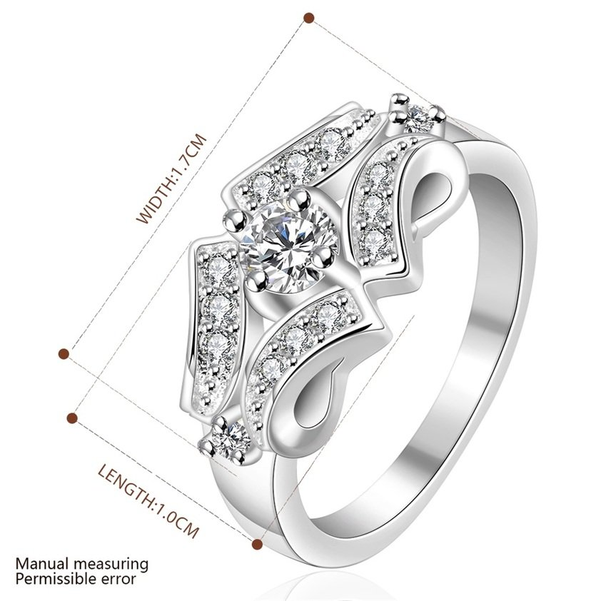 Women Silver Plating Crystals Filled Finger Band Ring Size 8 Wedding Jewelry FE