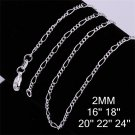 18 inch 2mm Jewelry Silver Plating Long Curb Chain Link Necklace DIY FE