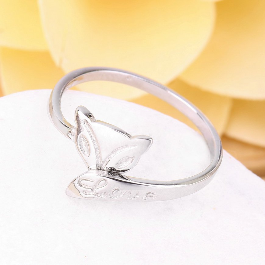 Opening Adjustable 30% Platinum Plated Fox Shape Ring For Valentine's Day FE
