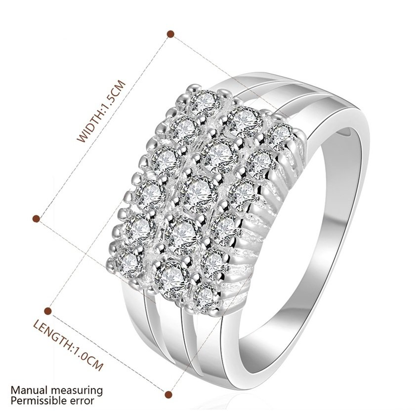 Women Silver Plating Bling Suqare Crystals Finger Band Ring Size 7 Jewelry FE
