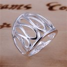 Unique Silver Plating Hollow Rings Wide Finger Bnad Size 8 Jewelry Gift FE