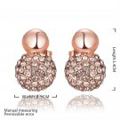 Elegant Round Shaped Faux Crystal Alloy Zircon Rose Golden Earrings for Gift FE