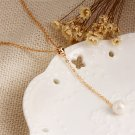 Simple Women Girls Pearl Pendant Chic Golden Color Adjustable Chain Necklace FE
