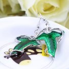 1 Pair Elegant Women Green Leaf Elven Dangle Pendant Ear Hook Earrings GP