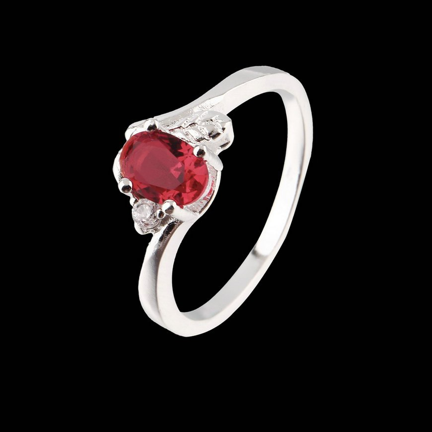 925 Silver Charm Faux Crystal Ring Red Designing for Engagement Wedding FE