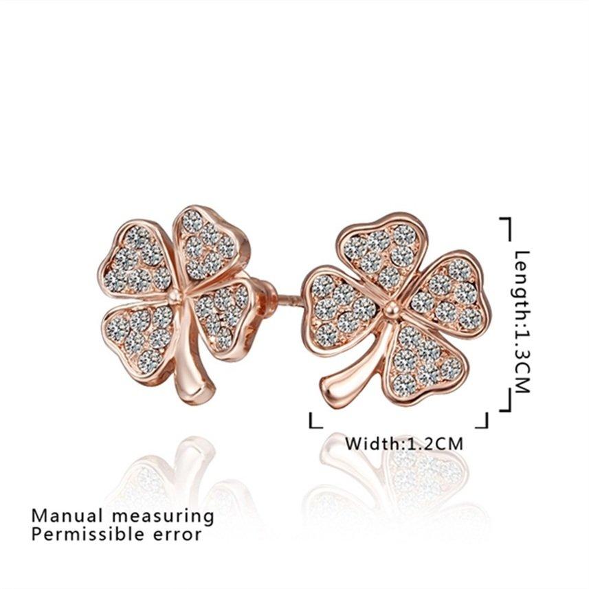 Cute Clover Shaped Faux Crystal Alloy Zircon Rose Golden Earrings Gift FE