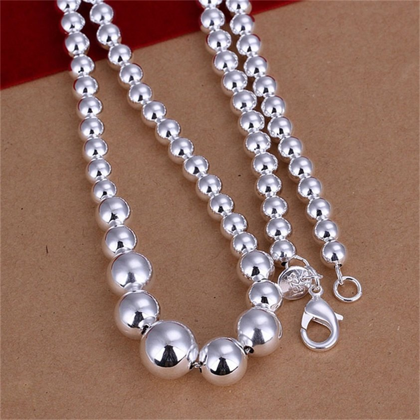 18 Inch Fashion Silver Plating Full Round Beads Shape Elegant Necklace FE