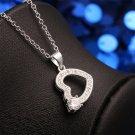 Women Elegant Zircon Crystal Heart Shape Pendant Rhinestone Necklace Jewelry FE
