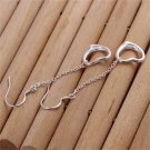 1 Pair Women's Silver Plating Hanging Lovely Heart Ear Hook Dangle Earrings FE