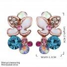 Flower Shape Faux Crystal Inserted Zircon Rose Golden Earrings for Gift FE