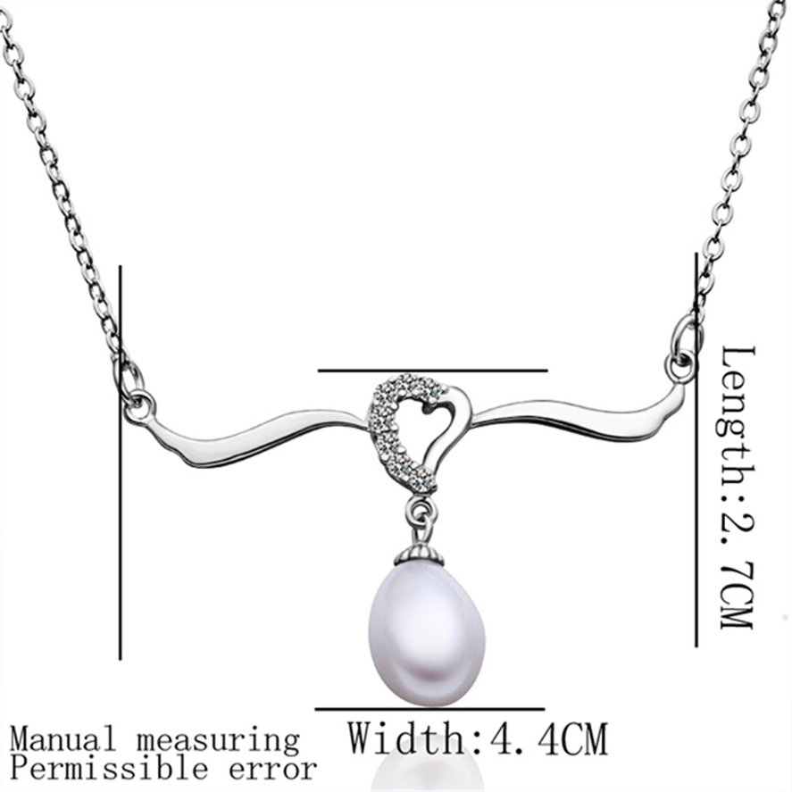 Women Charm Delicate Crystal Heart Pearl Drop Pendant Chain Necklace Jewelry FE