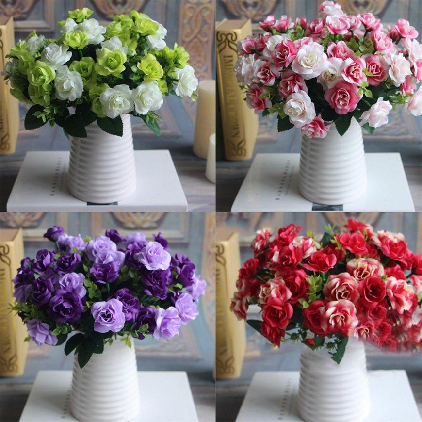 13 Heads Artificial Rose Silk Leaf Flower Home Wedding Bridal Bouquet Decor FE