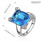 New Hot Luxury Jewelry Geometric Pure Blue Zircon Ring Plated Diamonds Ring FE