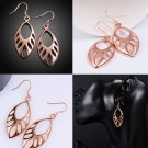 1 Pair Woman Fashion Leaf Hollow Carved Rose Gold-Plated Ear Earrings Studs FE