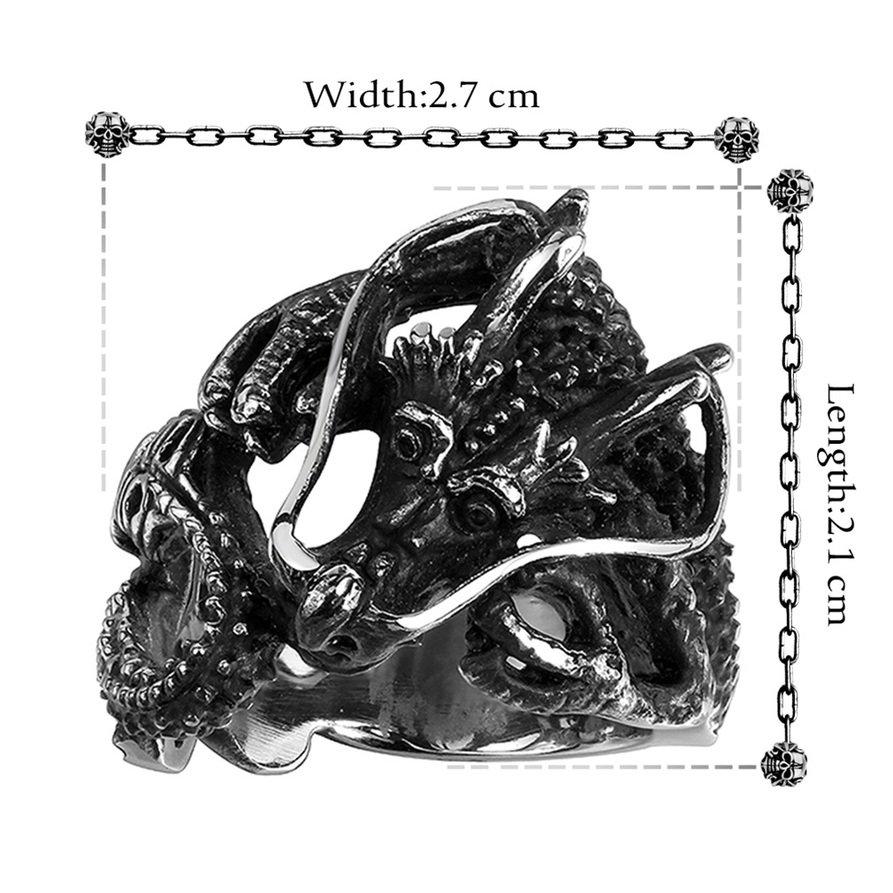 R103-8 Unisex Retro Vintage 316L Steel Titanium Punk Dragon Ring Jewelry FE