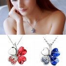 Women Happiness Clover Leaf Crystal Pendant Chain Necklace Valentine Gift FE