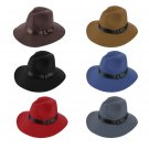 Unisex Hard Felt Wide Brim Ribbon Warm Wool Blend Hat Bowler Trilby Style Cap FE