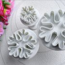 3pcs Snowflake Fondant Cake Decorating Sugarcraft Cutter Plunger Mold Mould FE