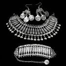 Bohemian Antalya Gypsy Festival Turkish Silver Coin Collar Statement Necklace EF