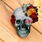 Flower Rose Skull Skeleton Wood Acrylic Pendant  Chain Necklace Jewelry Gift FE
