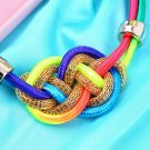 Fashion Chinese Knot Fluorescent Handmade Knit Rope Cotton Punk Necklace  FE