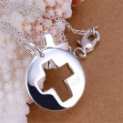 Elegant Couple Pendant Cross Shaped Silver-plated Pendant No Chains FE