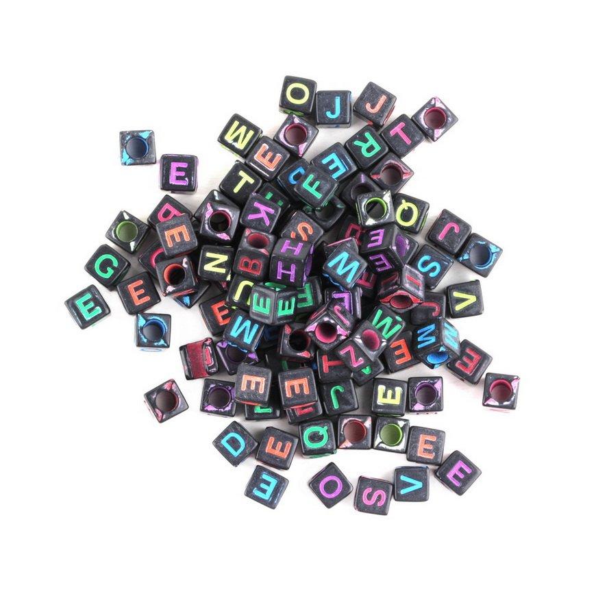 Multi-Black 6mm Alphabet Letter Charms Pony Beads For Loom Bands Bracelet FE