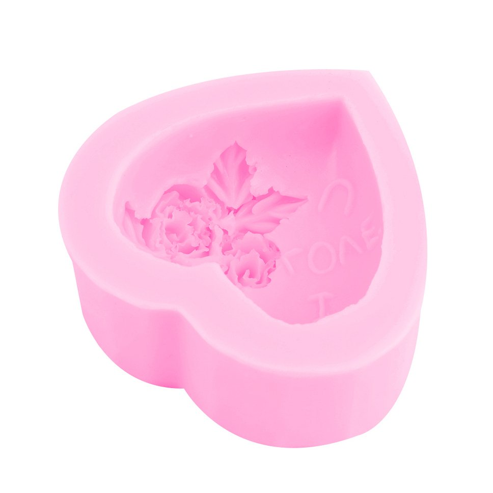 Soap Mould Heart Love Flower Silicone Mold For Handmade Cake Candy Party