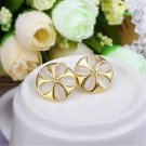 Environmental Women Tin Alloy Flower Cat-eye Opal Ear Studs Earrings Jewelry CAF