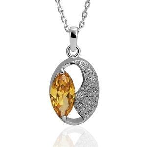 Platinum Plating Nickle Free Antiallergic Necklace Women Elegant Opal Shape FE