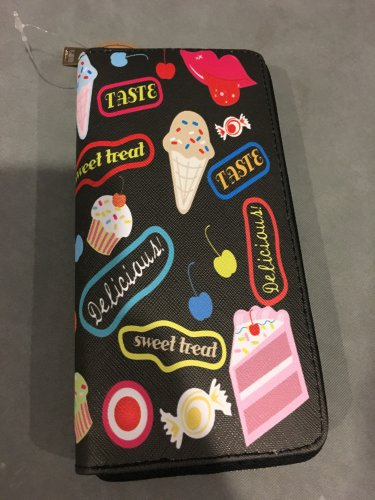Designer Inspired Faux Leather Wallet Single Zip Around Sweets Wristlet