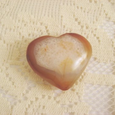 Carved Agate Heart, Carnelian Crazy Lace Chalcedony, 55mm,