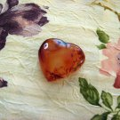 Carved Carnelian Agate Heart, 2 Inches Handmade Chalcedony