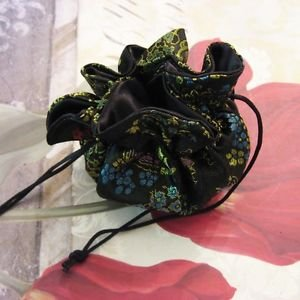 Black Floral Satin Brocade Drawstring Jewelry Pouch 10 Inch