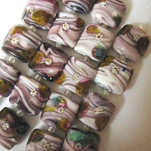 Foil Lampwork Glass Beads, Flat Square, Purple White, Green 5 beads 18mm