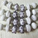 Lampwork Glass Rondelle Beads, White with Purple 6 beads 16mm