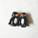 Black and White Penguin Lampwork Glass Beads, 20mm, 2 Handmade Beads